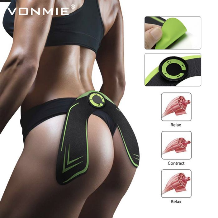 VONMIE EMS Hip Trainer Electrical Muscle Stimulator ABS Fitness Buttocks Slimming Tens Machine Remote Control USB Rechargeable 2