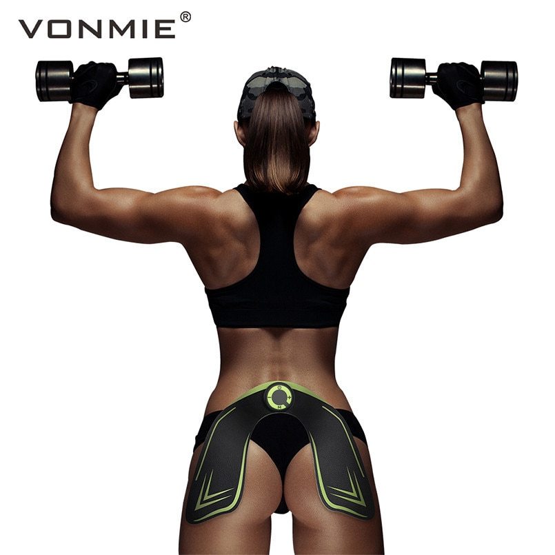 VONMIE EMS Hip Trainer Electrical Muscle Stimulator ABS Fitness Buttocks Slimming Tens Machine Remote Control USB Rechargeable 1