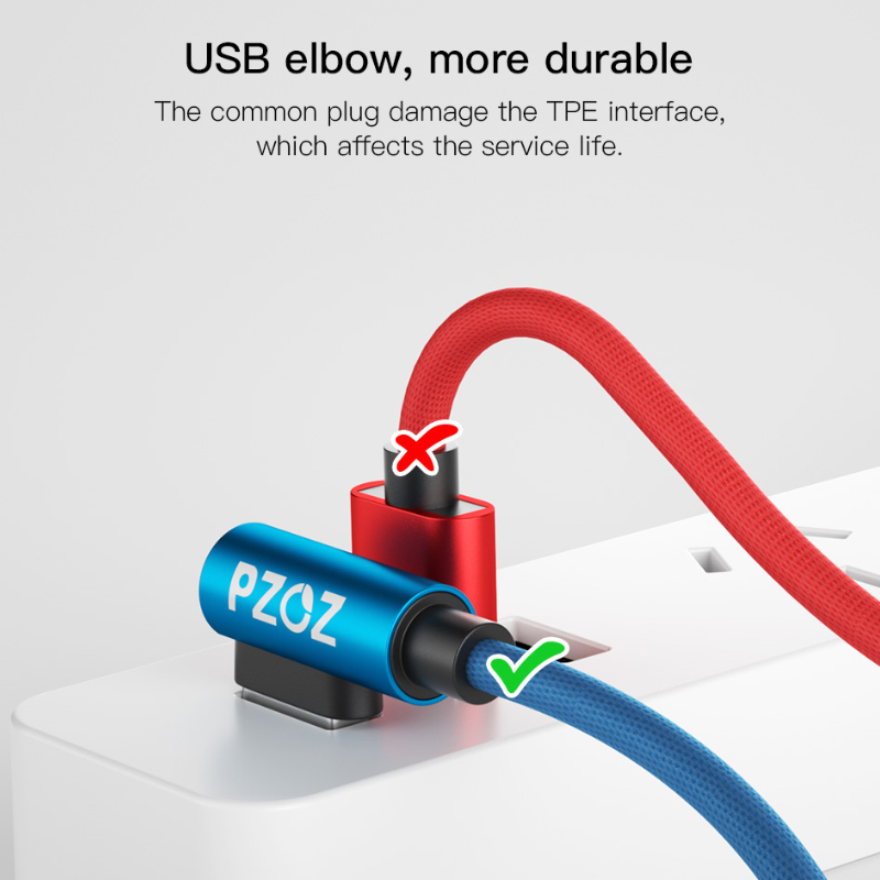 PZOZ USB Type C 90 Degree Fast Charging usb c cable Type-c data Cord Charger usb-c For ipad pro 2018 Samsung S9 s8 Note 9 Xiaomi 3