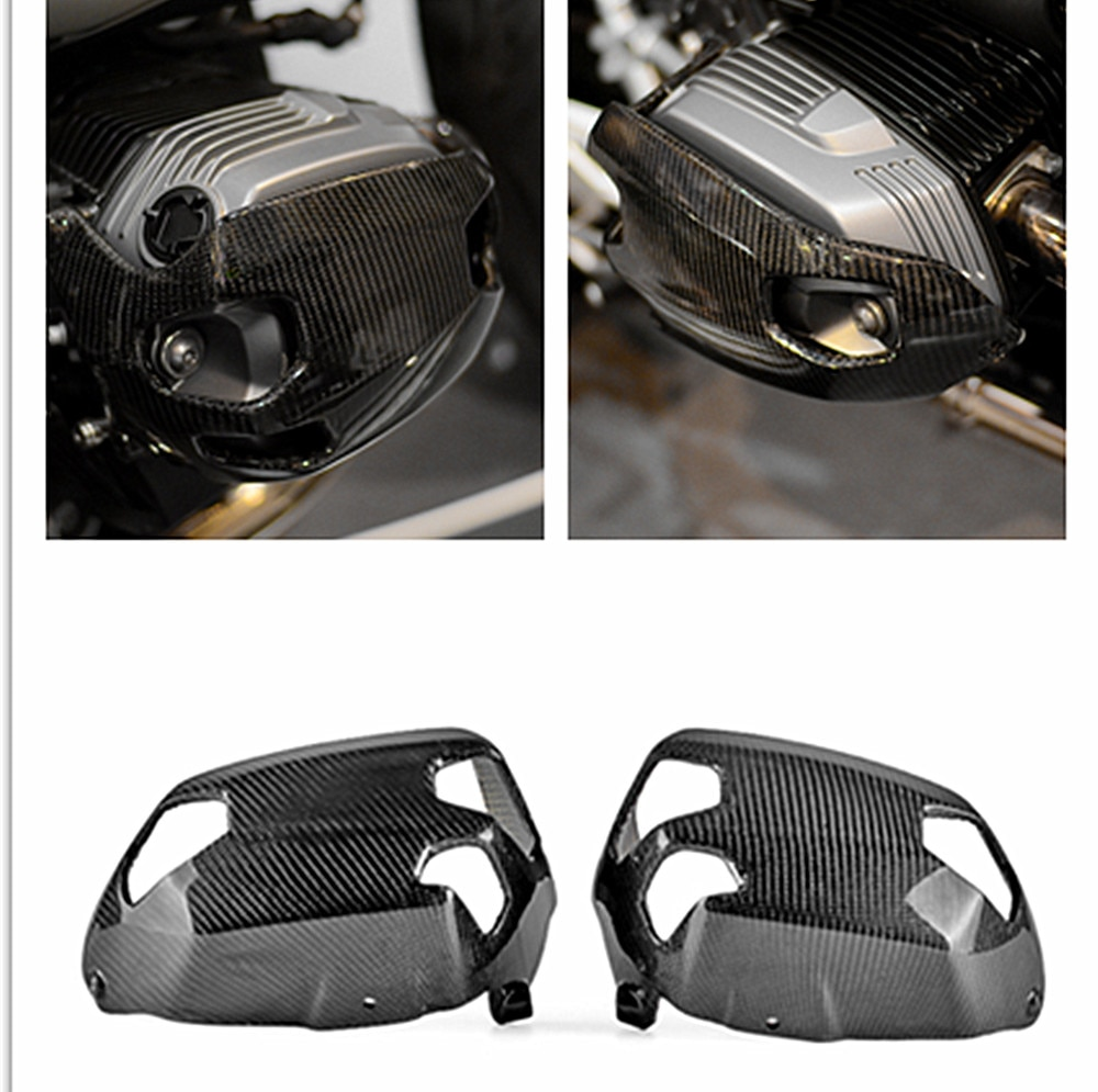 2PCS Motorcycle Cylinder Head Guards Protector Cover Carbon FiberFor BMW R1200GS 2010-2012 and BMW R NINET 2014-2018