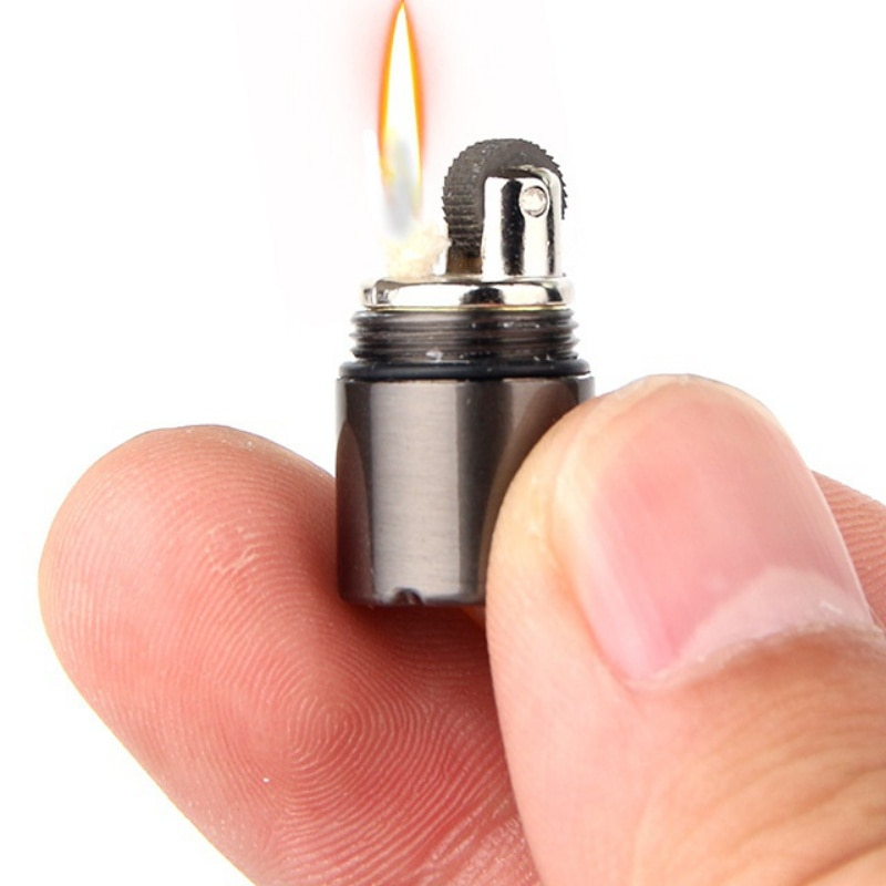 Mini Compact Kerosene Lighter Key Chain Capsule Gasoline Lighter Inflated Keychain Petrol Lighter Outdoor Tools