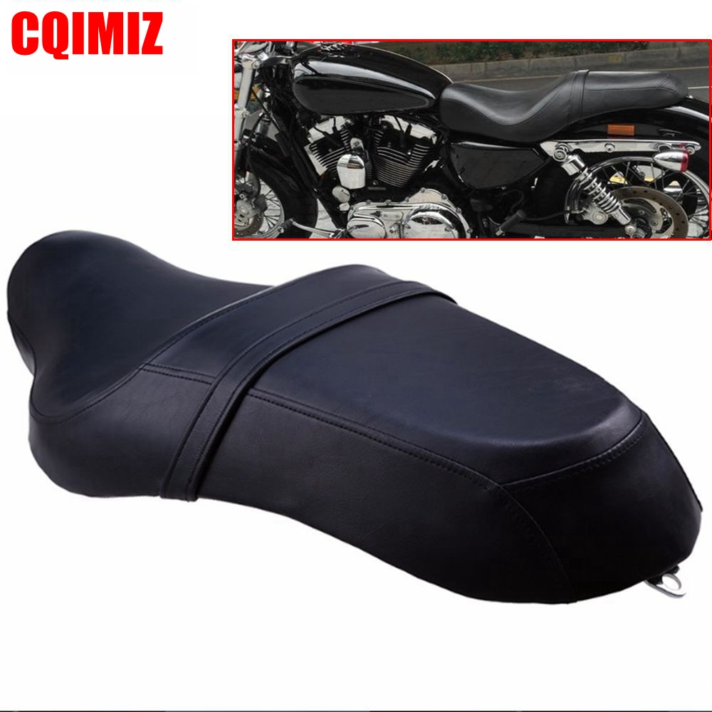 Motorcycle Saddle Seats Cushion Front Driver Rear Passenger Seat Leather PU Two Up For Harley Davidson Sportster XL 883 1200 1