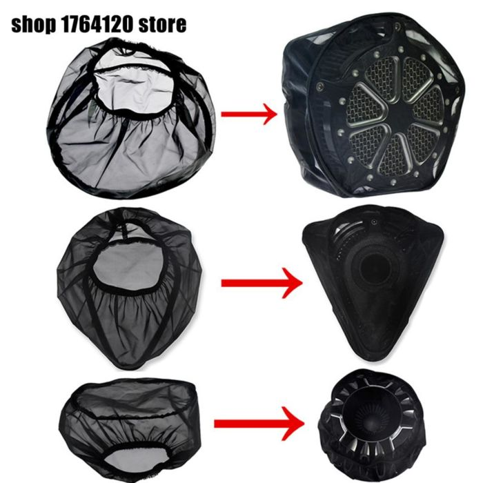 Black Waterproof Rain Sock For Harley Sportster XL 883 1200 Touring Street Road Glide Dyna Softail For Air Filter Cleaners kits 1