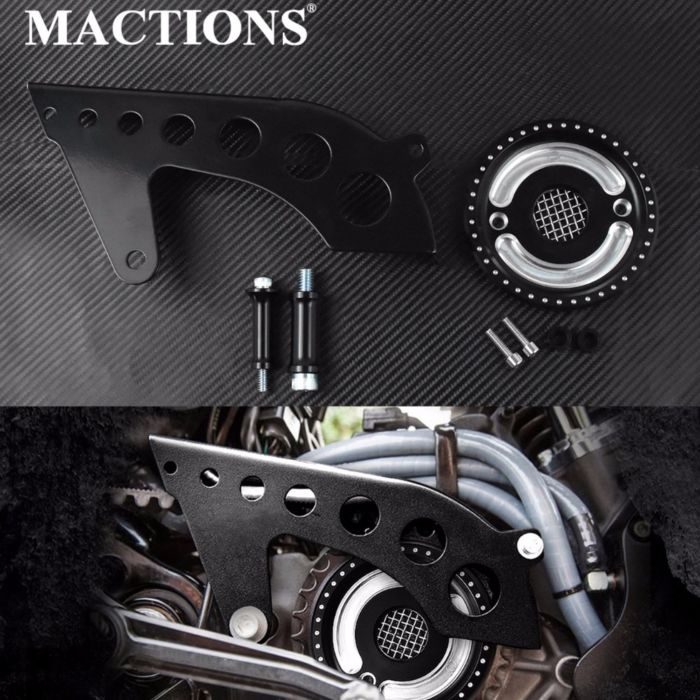MACTIONS Front Drive Pulley Guard Cover Pulley Cover w/Mesh Countershaft For Harley Sportster 883 1200 XL 48 72 SuperLow 04-2018 1