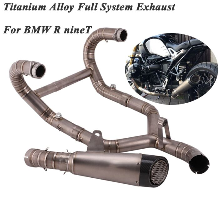 Full System Motorcycle Exhasut For BMW R nineT Modified Titanium Alloy Front Middle Tube Link Pipe Carbon Fiber Muffler Slip On 1